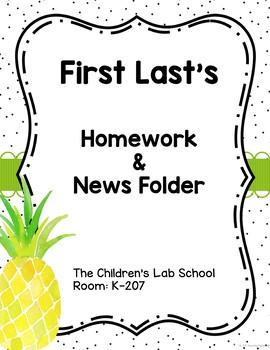 Tropical Theme Homework Folder Covers Editable
