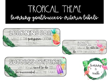 Tropical Theme Learning Goals and Success Criteria Signs