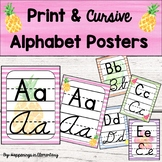 Tropical Theme Cursive and Print Alphabet Posters