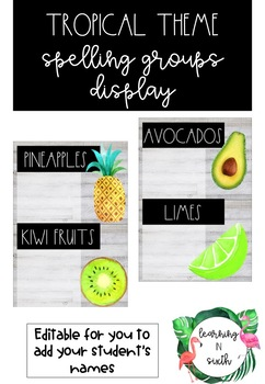 Tropical Theme Spelling Display/Labels Bundle