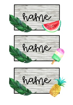 Tropical Theme Student Labels