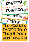 Tropical Theme Tote Tray & Book Box Labels editable