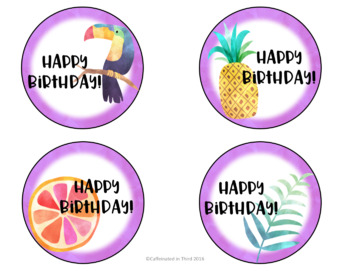 Tropical Themed Birthday Pencil Topper
