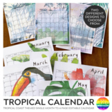 TROPICAL Themed Calendar 2019