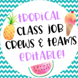 Tropical Themed Classroom Job Teams and Crews Editable