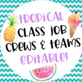 Tropical Themed Classroom Job Teams and Crews Editable