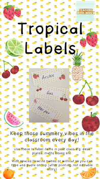 Tropical Themed Classroom Labels/ Desk Plates