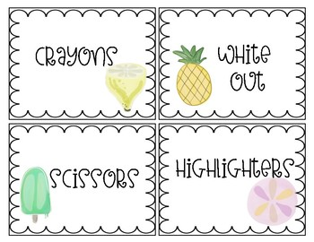 Tropical Themed Classroom Supply Labels