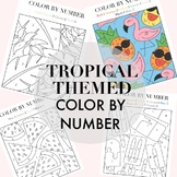 Tropical Themed Color By Number By Taracotta Sunrise