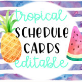 Tropical Themed Editable Schedule Cards