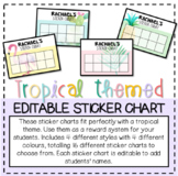 Tropical Themed Editable Sticker Chart