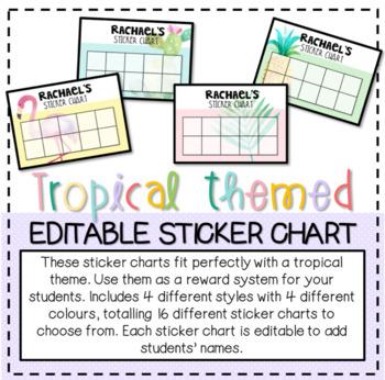 Tropical Themed Editable Sticker Chart