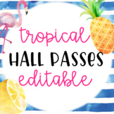 Tropical Themed Hall Passes Editable