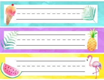 Tropical Themed Name Tags Editable