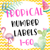 Tropical Themed Number Labels 1-60 Editable