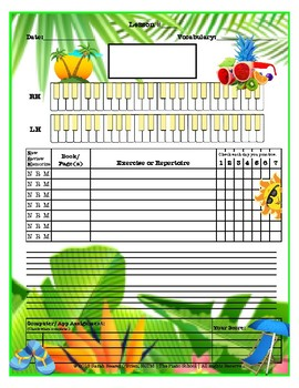 Tropical Themed Piano Lesson Assignment Sheet *SWIMMING*