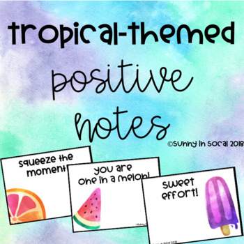 Tropical Themed Positive Behavior Notes for Students