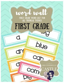 Tropical Themed Sight Word Wall (First Grade)