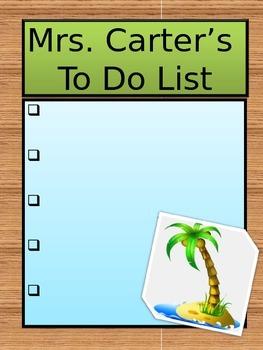 Tropical Themed Teacher To Do List