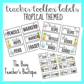 Teacher Toolbox Labels- Tropical Themed EDITABLE