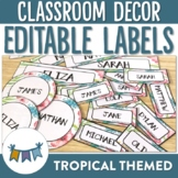 Tropical Themed editable classroom labels