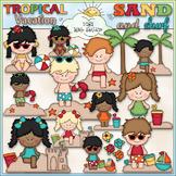 Tropical Vacation Clip Art - Beach Clip Art - CU Clip Art & B&W