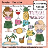 Tropical Vacation Clip Art personal & commercial use C Seslar