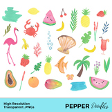 Tropical Vibes - Watercolor Clipart and Paper - Transparent PNGs