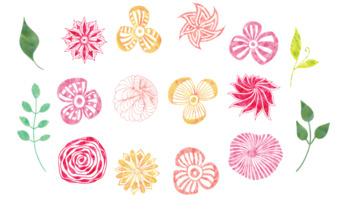 Tropical Water Color Flowers Clip Art