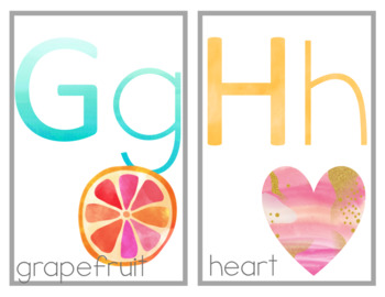 Tropical Watercolor Alphabet Full and Half