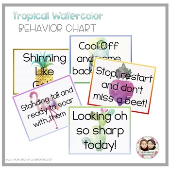 Tropical Watercolor Behavior Chart