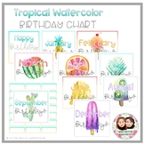 Tropical Watercolor Birthday Chart