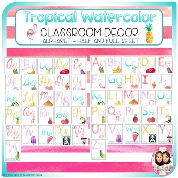 Tropical Watercolor Classroom Decor Growing Bundle-Back to School Decor