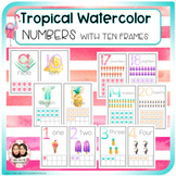 Tropical Watercolor Classroom Decor - Numbers 1- 20 with ten frames