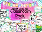 Tropical Watercolor Classroom Decor - editable