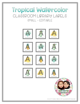 Tropical Watercolor Classroom Library Labels