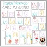 Tropical Watercolor Full and Half Cursive Alphabet
