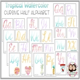 Tropical Watercolor Full and Half Cursive Alphabet