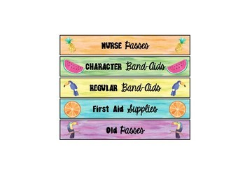 Tropical Watercolor Drawer Labels