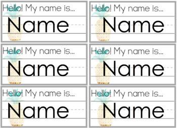 Tropical Watercolor Editable Name Tags