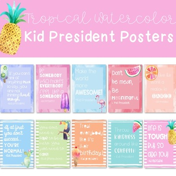 Tropical Watercolor Kid President Posters