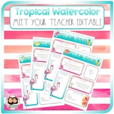 Tropical Watercolor Meet the Teacher