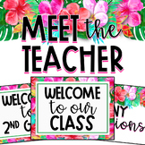 Tropical Watercolor Meet the Teacher Presentation - EDITABLE!