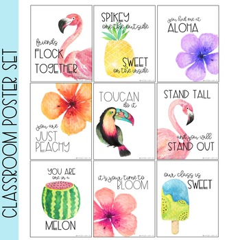 Tropical Watercolor Poster Set