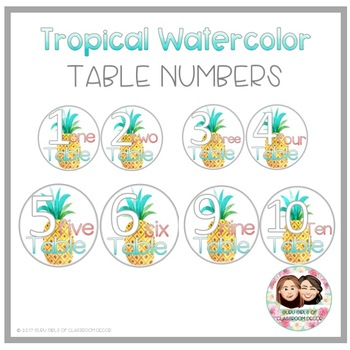 Tropical Watercolor Table Numbers