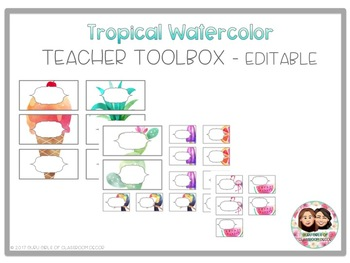 Tropical Watercolor Teacher Toolbox with Editable version