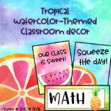 Classroom Decor Back to School Tropical Watercolor Themed