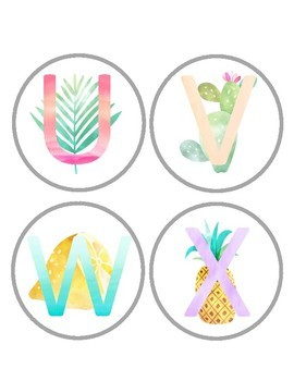 Tropical Watercolor Word Wall Letters