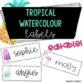 Tropical Watercolour Labels {editable}