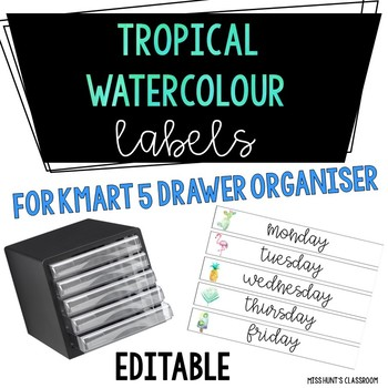 Tropical Watercolour Labels for Kmart 5 Drawer Organiser {editable}